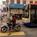 Motorbike waiting for traffic light at Petaling street, Kuala Lumpur