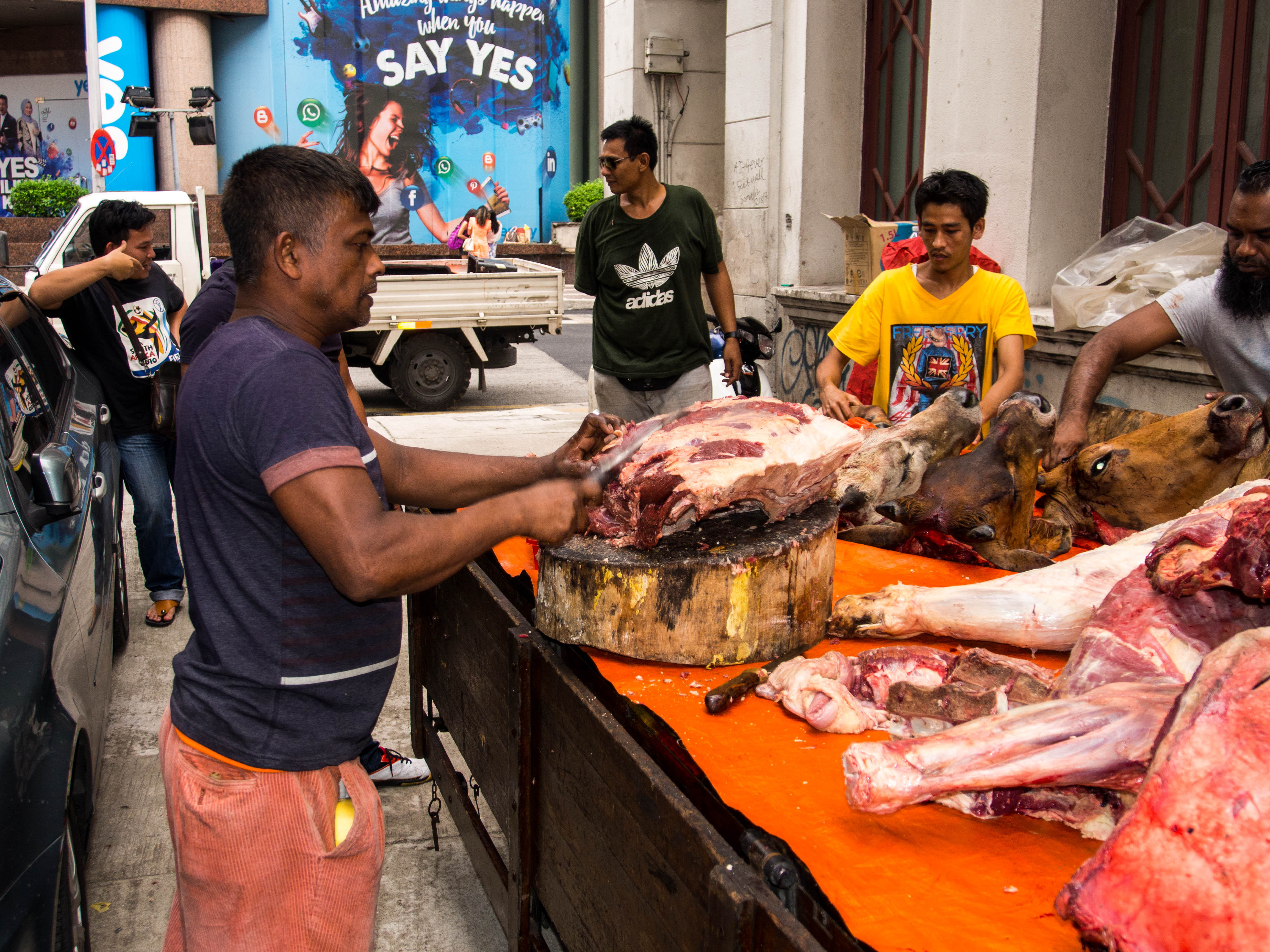 Butchers in the streets of Kuala Lumpur