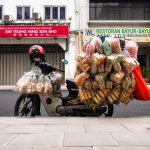 Fully packed transport motorbike in Kuala Lumpur, Malaysia