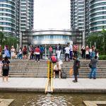 Tourists at the Petronas Towers, Kuala Lumpur Malaysia