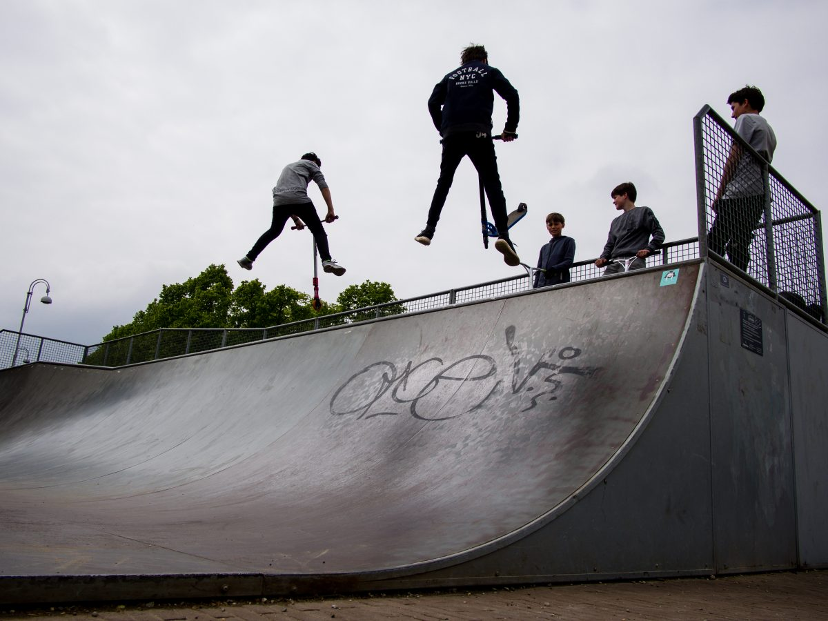 Autopeds on skate court, Museumplein, Amsterdam