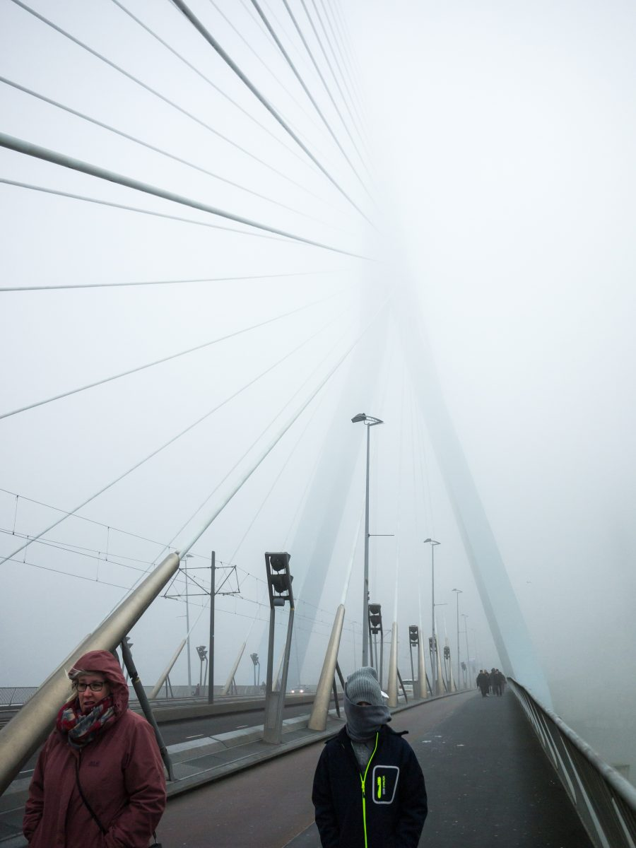 The Erasmus Bridge in Rotterdam in a dense fog